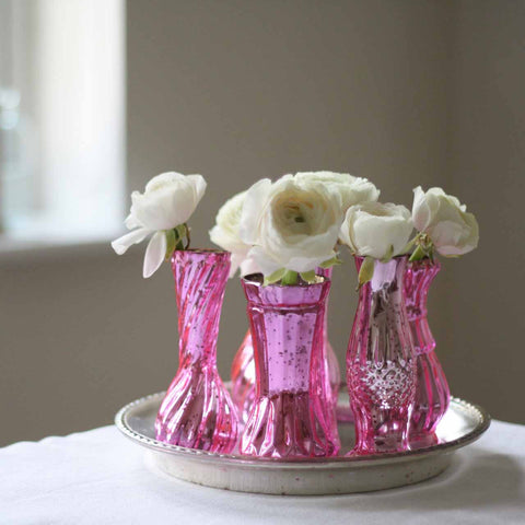 Mercury Pink Wedding Centrepiece Tray with 6 Vases