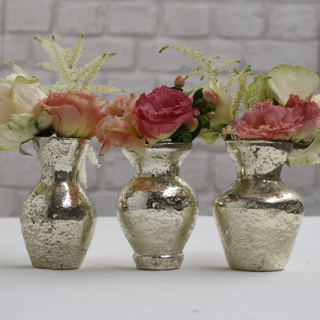 Handmade Mercury Pale Gold Posy Vases – Set Of 3 - available from @theweddingomd The Wedding of my Dreams