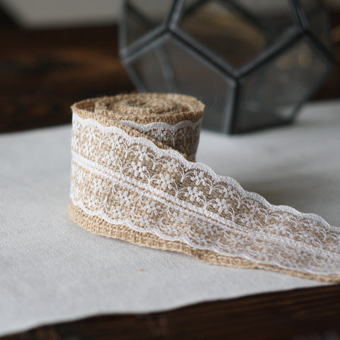 Hessian and Lace Ribbon 2m Roll