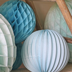 Large Honeycomb Paper Poms Blue