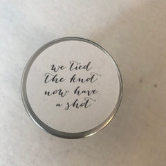 Round Wedding Favour Stickers Have A Shot (Calligraphy) x 24