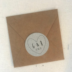 Round Wedding Favour Stickers Initials and Date Heart Design x 24