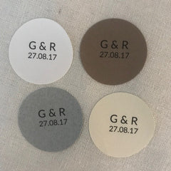 Round Wedding Favour Stickers Initials and Date x 24