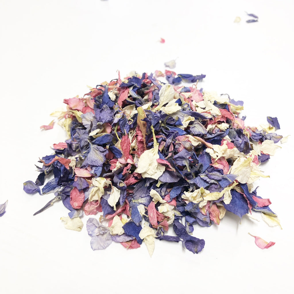 Summer Mix pink purple confetti petals biodegradable from www.theweddingofmydreams.co.uk