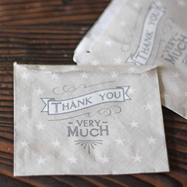 Thank You Grey Wedding Favour Bags x 40