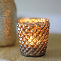 Quilted Glass Bronze Tea Light Holder
