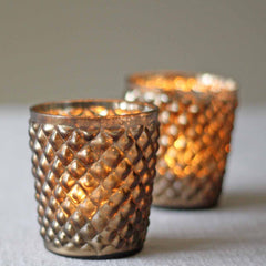 Quilted Glass Bronze Tea Light Holder - Metallic Wedding Decorations