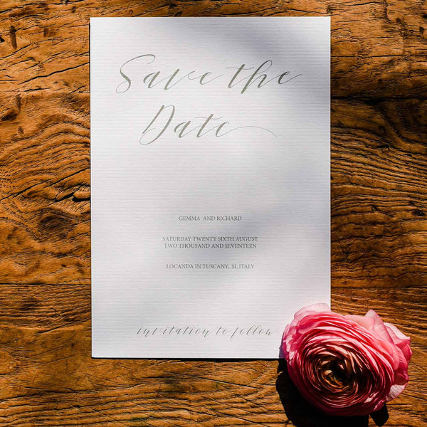 Calligraphy Save The Date - Printable wedding stationery