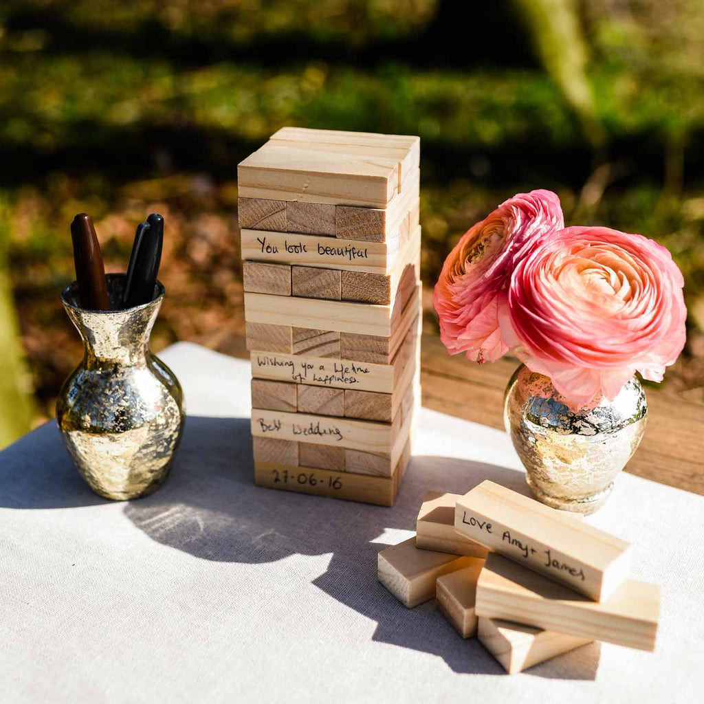 Wooden Jenga Wedding Guest Book available from @theweddingomd