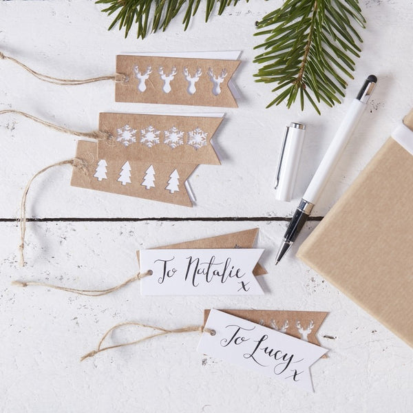 Brown Kraft Paper Christmas Gift Tags - Pack of 9