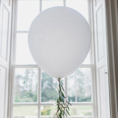 Large white round balloons wedding with foliage trails