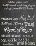 Make your own chalkboard signs using our chalkboard background and these chalkboard fonts