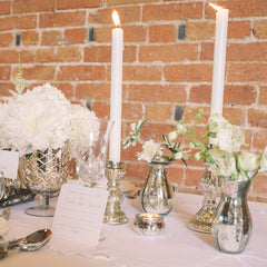 mercury silver candle sticks wedding decorations available from The Wedding of my Dreams