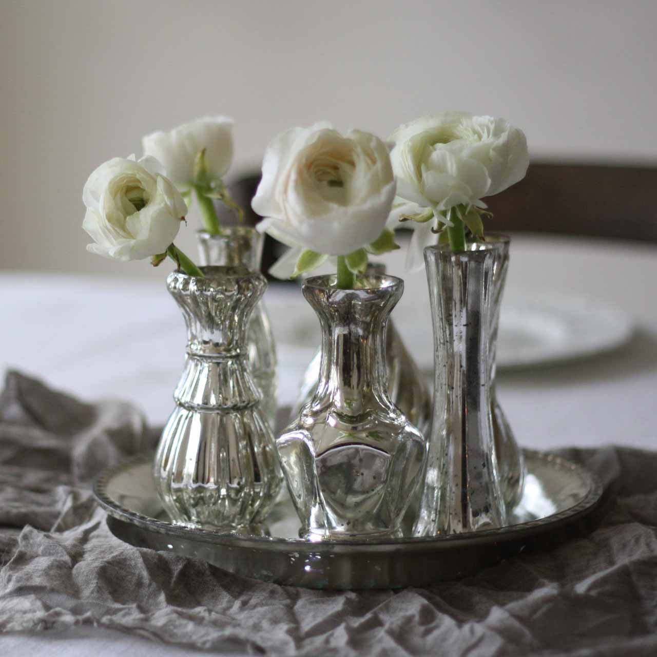Real Fairytale Weddings Silver Spring Md: Set Of 6 Mercury Silver Vases On Tray Wedding Centrepiece