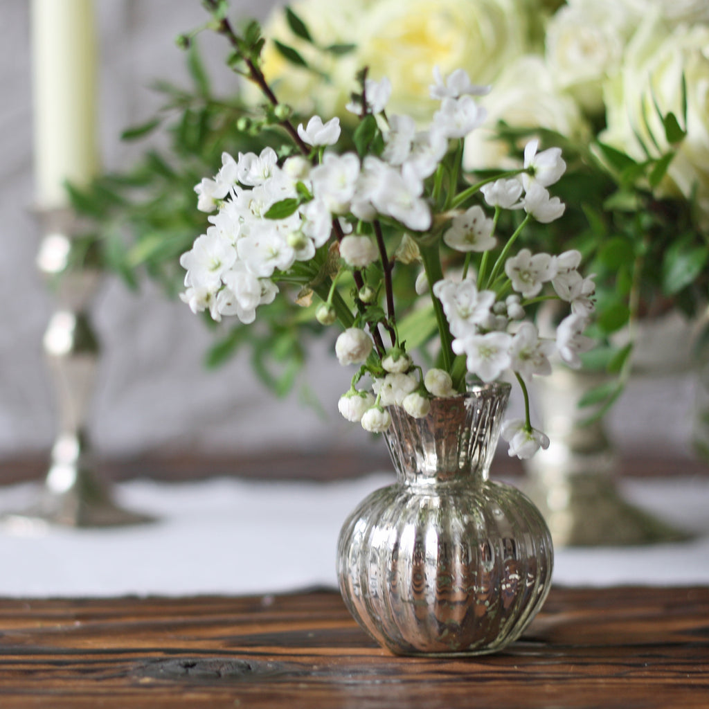 Round Mercury Silver Bud Vase available from The Wedding of my Dreams