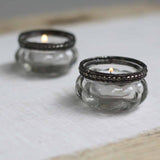 Mini Clear Glass Tea Light Holders with Metal Rim - available from @theweddingomd The Wedding of my Dreams