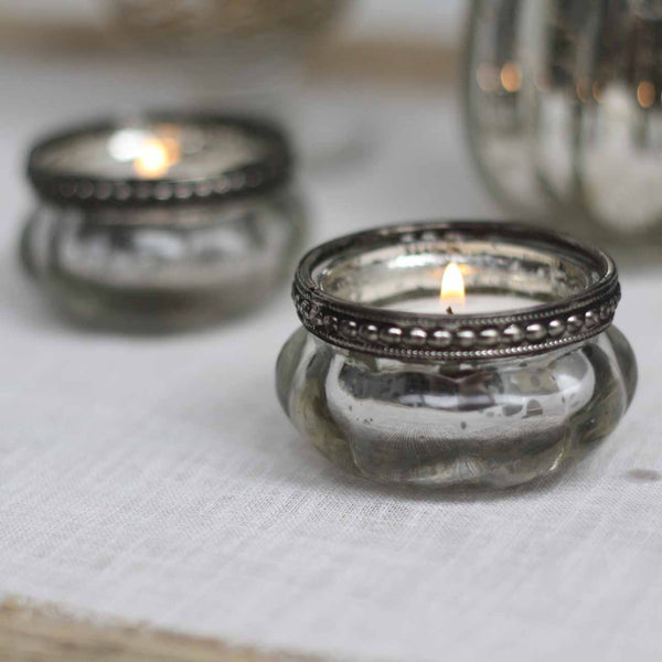 Mini Mercury Silver Tea Light Holders with Metal Rim - available from @theweddingomd The Wedding of my Dreams