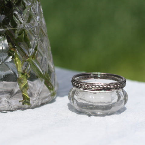 Mini Clear Glass Tea Light Holders with Metal Rim
