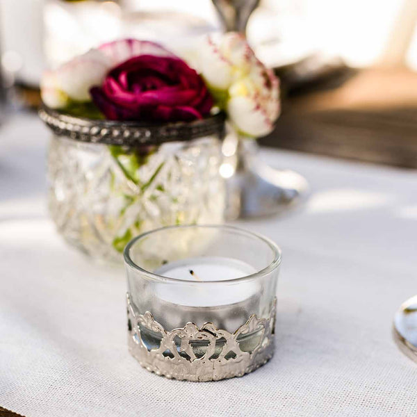 Mini Elegant Glass and Silver Tea Light Holders - Available from @theweddingomd