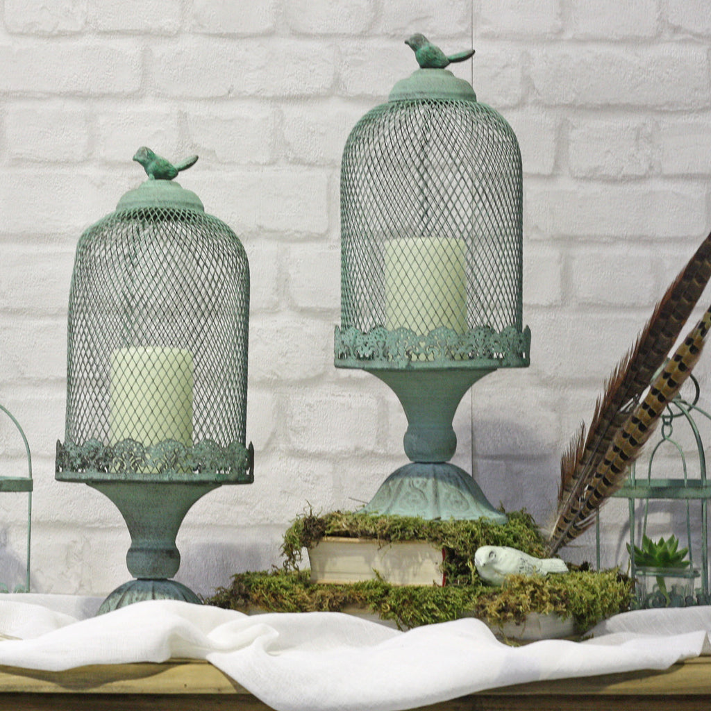 Mint Green Footed Birdcage Centrepiece - available from @theweddingomd