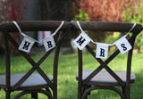 Mr & Mrs Chair Bunting Black and White available from @theweddingomd