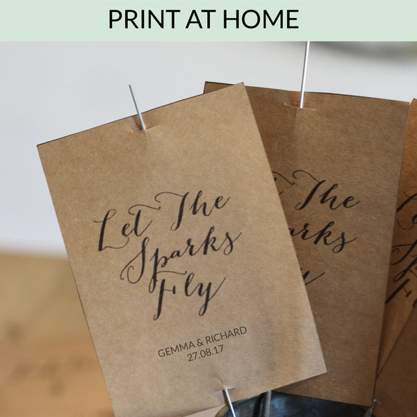 Printable: Let The Sparks Fly Sparkler Tags www.theweddingofmydreams.co.uk