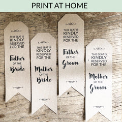Printable Wedding Reserved Seat Signs : Digital Download Print At Home