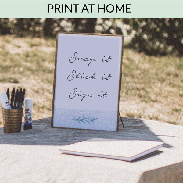 Snap It Stick it Sign It (Polaroid camera guest book sign) - Digital Download / Printable