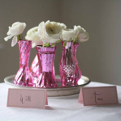 Pink and silver wedding centrepieces - pink vases available from @theweddingomd