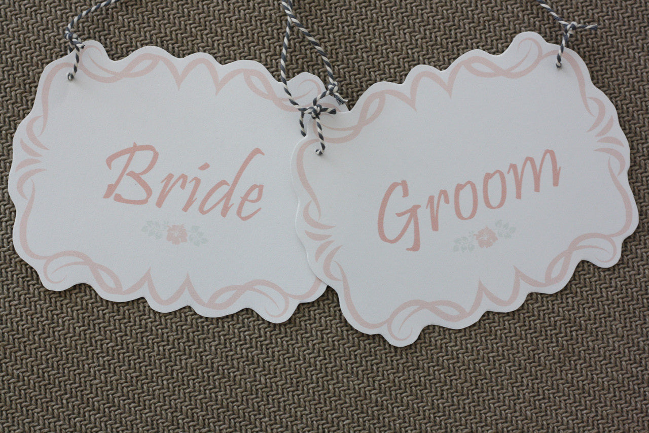 Bride And Groom Mr And Mrs Wedding Chair Signs Free