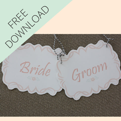 Bride and Groom / Mr and Mrs Wedding Chair Signs - Free Printable