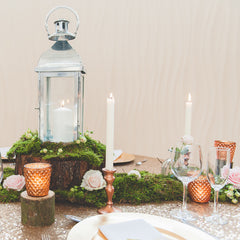 Copper tea light holders candlesticks and moss available to buy online from The Wedding of my Dreams @theweddingomd