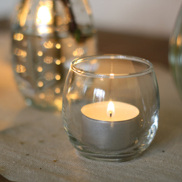 Round Glass Tea Light Holder - available from The Wedding of my Dreams