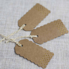 Rustic Glamour Luggage Tags – Brown Kraft With Gold Foil Polka Dots - available from @theweddingomd The Wedding of my Dreams