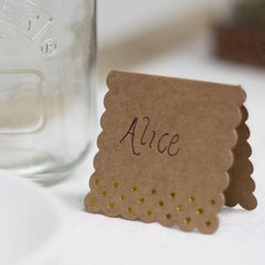 Rustic Glamour Place Cards – Brown Kraft With Gold Foil Polka Dots - available from @theweddingomd The Wedding of my Dreams