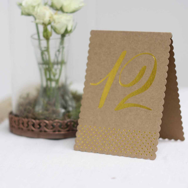 Rustic Glamour Table Numbers – Brown Kraft With Gold Foil Polka Dots - available from @theweddingomd The Wedding of my Dreams