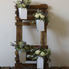 rustic wedding table plan flower pots
