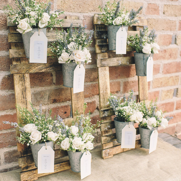 Rustic wedding table plan with flower pots the wedding for Mini tin mailboxes for crafts