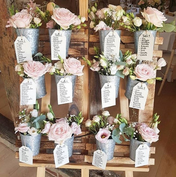 Rustic Wedding Seating Chart Ideas: Rustic Wedding Table Plan With Flower Pots