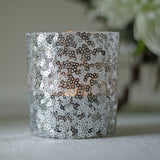silver sequin tea light holders