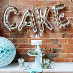 Silver CAKE balloons wedding