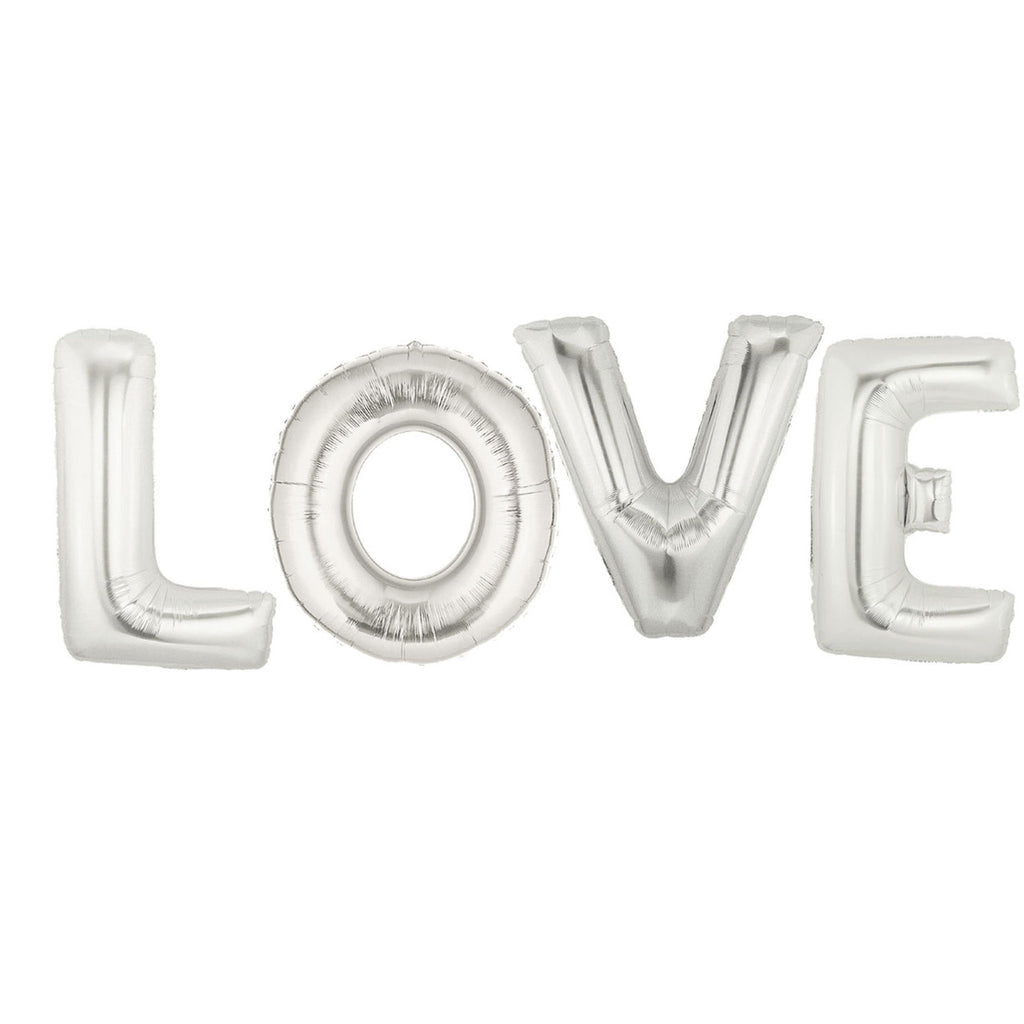 Silver LOVE Balloons wedding