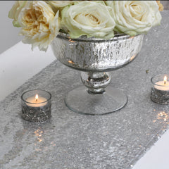 Silver Sequin Table Runner - available from @theweddingomd The Wedding of my Dreams