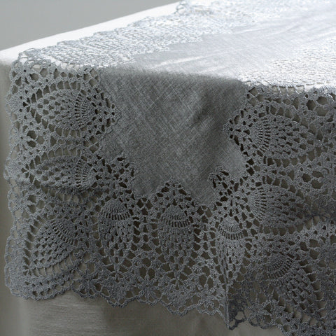Silver Table Runner With Lace Edge