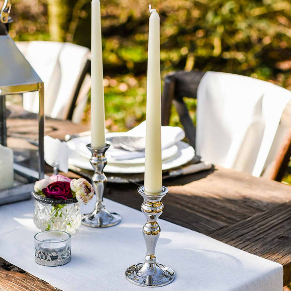 silver candle stick holders for dinner candles - The Wedding of my Dreams