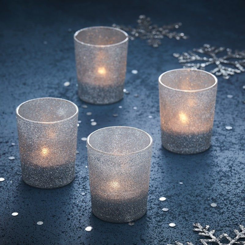 Silver Glitter Tea Light Holders - Set of 4 - The Wedding of my Dreams