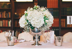 Silver Metal Footed Bowl Wedding Centrepiece