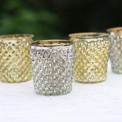 Silver and Gold Tea Light Holder Quilted Design The Wedding of my Dreams