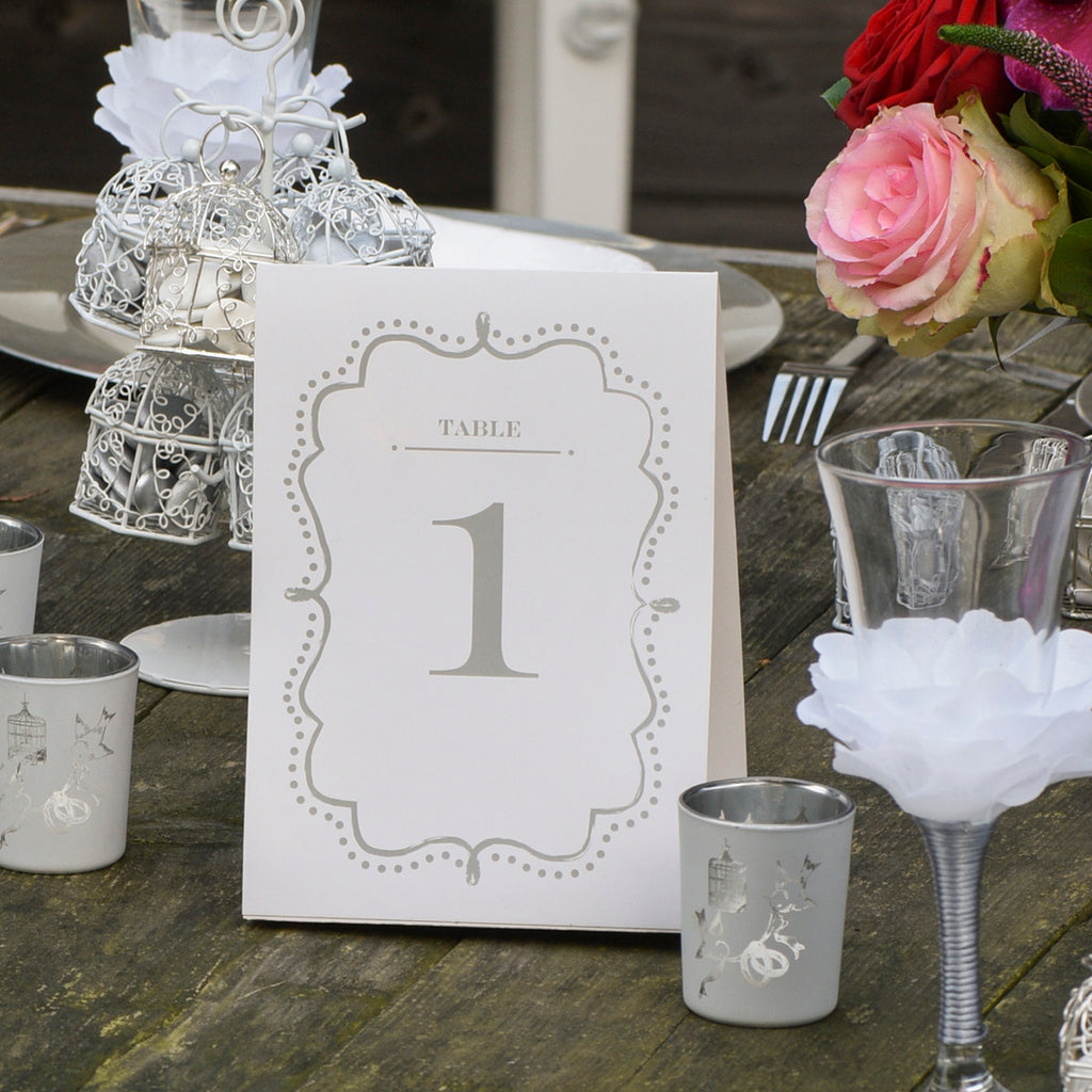 Silver Table Number Cards (1 - 10) Free Standing www.theweddingofmydreams.co.uk