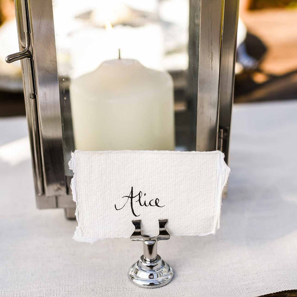 Small Silver Name Card Table Number Holders – Set of 4
